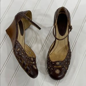 Pikolinos Brown Leather Ankle Strap Wedges - sz 37